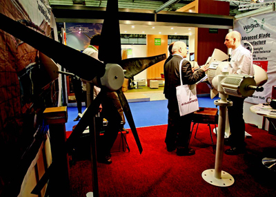 Wind turbine on display at the European Wind Energy Conference & Exhibition, Marseille, France, March 16, 2009. Photo: Jean-Paul Pelissier/Reuters.