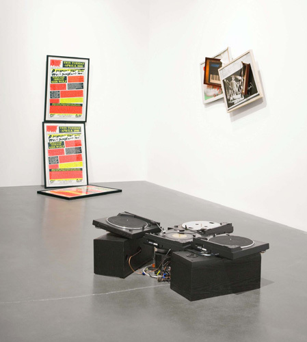 "View of ""the Generational: Younger than Jesus,"" 2009, New Museum, New york. Foreground: Icaro Zorbar, Golden Triangle, 2006. Background, from left: Brendan Fowler, Poster for Dialog with the Band AIDS Wolf, 2009; Brendan Fowler, Untitled (Spring 2007–Fall 2008), 2009. Photo: Bendoit Pailley."