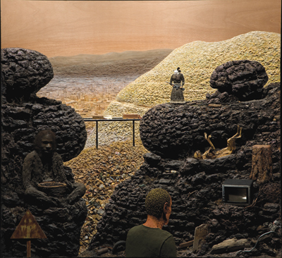 "Llyn Foulkes, The Lost Frontier, 1997–2005, mixed media, 87 x 96 x 8""."