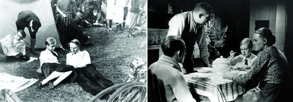 Slatan Dudow, Kuhle Wampe, or Who Owns the World?, 1932, stills from a black-and-white film, 69 minutes.  Left: Anni (Hertha Thiele) and Fritz (Ernst Busch). Right: Franz (Alfred Schäfer), Father Böhnicke (Max Sablotzki), Anni (Thiele), and Mother Böhnicke (Lilli Schönborn).
