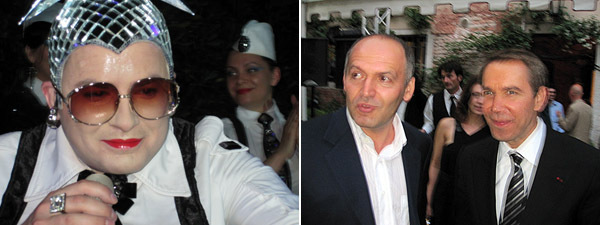 Left: Performer Verka Serdyuchka. Right: Collector Viktor Pinchuk with artist Jeff Koons. (Photos: Brian Droitcour)
