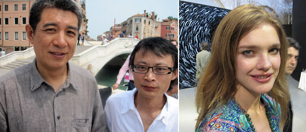Left: Artists Xu Tan and Chu Yun. Right: Natalia Vodianova. (Photos: Brian Droitcour)