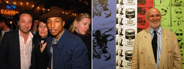 Left: Dealer Emmanuel Perrotin (left) and musician Pharrell Williams (right). (Photo: David Velasco) Right: Dealer Bruno Bischofberger. (Except where noted, all photos: Ryan McNamara)