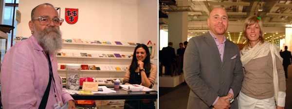 Left: Artist A. A. Bronson and Printed Matter associate director Catherine Krudy. Right: Art Basel directors Marc Spiegler and Annette Schönholzer.