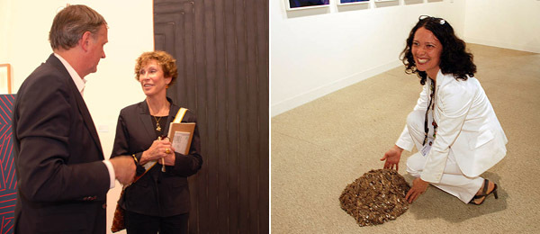 Left: Dealer Donald Young with art consultant Thea Westreich. Right: 303 Gallery director Mari Spirito.