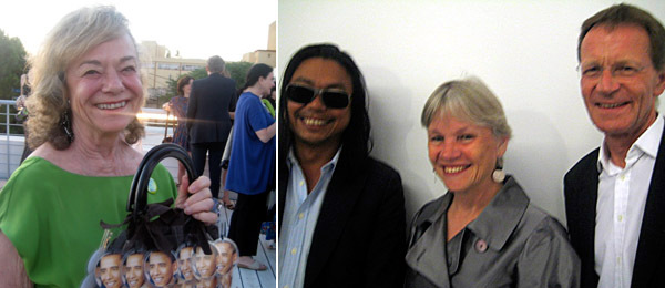 Left: Collector Laura Skoler. Right: Artist Rirkrit Tiravanija with Teresa Serota and Tate director Sir Nicholas Serota.