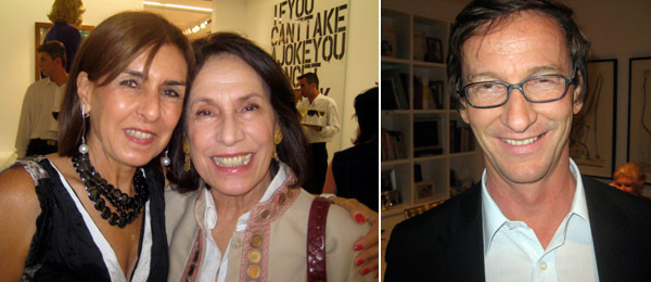 Left: Collector Lietta Joannou with artist Marina Karella. Right: Dealer Thaddaeus Ropac.