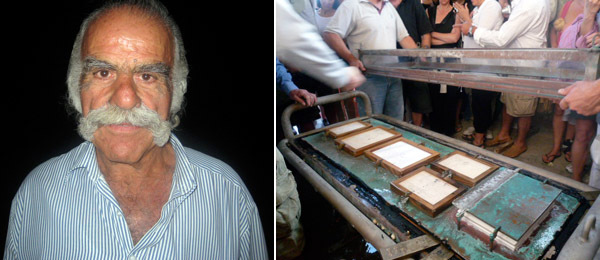 Left: Lefteris Arapoyiannis. Right: The opening of the vitrine. (Photo: Miggi Hood)