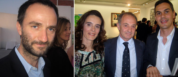Left: Andrzej Przywara of FGF Gallery, Warsaw. Right: Angela Maria Piga, curator Paolo Colombo, and New Museum curator Massimiliano Gioni.