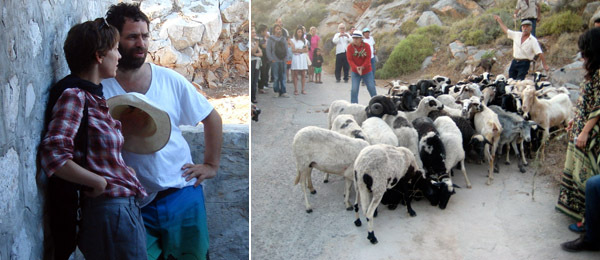 Left: Elizabeth Peyton with dealer Gavin Brown. (Photo: David Velasco) Right: Goats for Blood of Two.