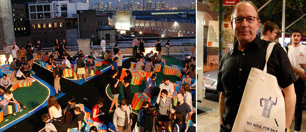 Left: On the roof of X. Right: Critic Jerry Saltz. (Photos: Joanne Kim/X Initiative)