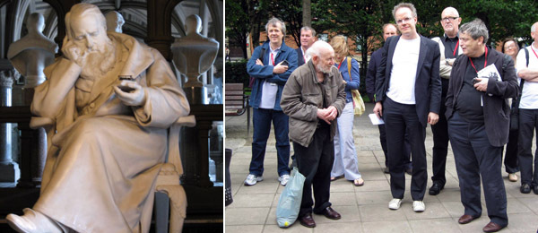 Left: Sculpture at the Manchester Cathedral. Right: Artist Gustav Metzger, the Serpentine's Hans Ulrich Obrist, and curator Norman Rosenthal.