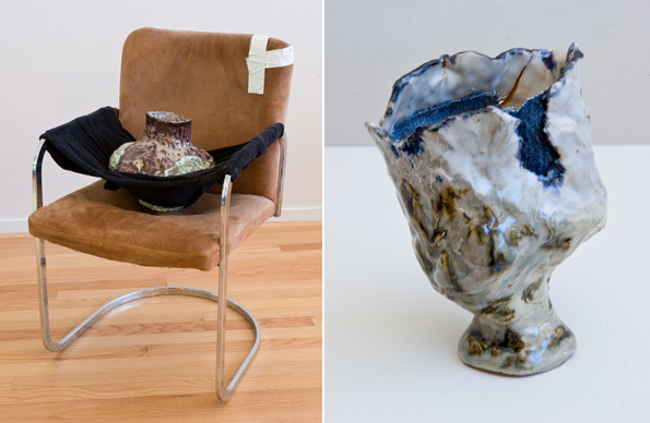 "Left: Jessica Jackson Hutchins, Velvet Hand, 2009, chair, vase, velvet pants, 33 x 21 x 20"". Right: Jessica Jackson Hutchins, Denim Vase, 2009, ceramic, denim, 9 x 7 x 5""."