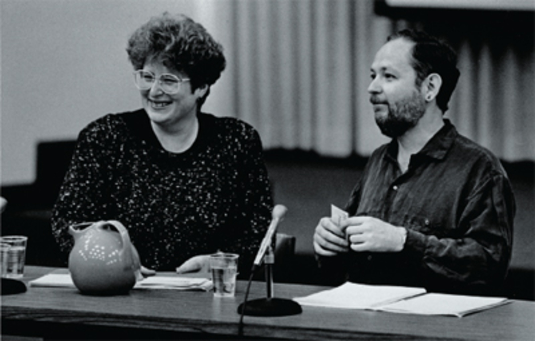 "Eve Kosofsky Sedgwick and Michael Moon at the conference ""Discourses of the Emotions,"" University of Wisconsin, Milwaukee, April 21, 1990."