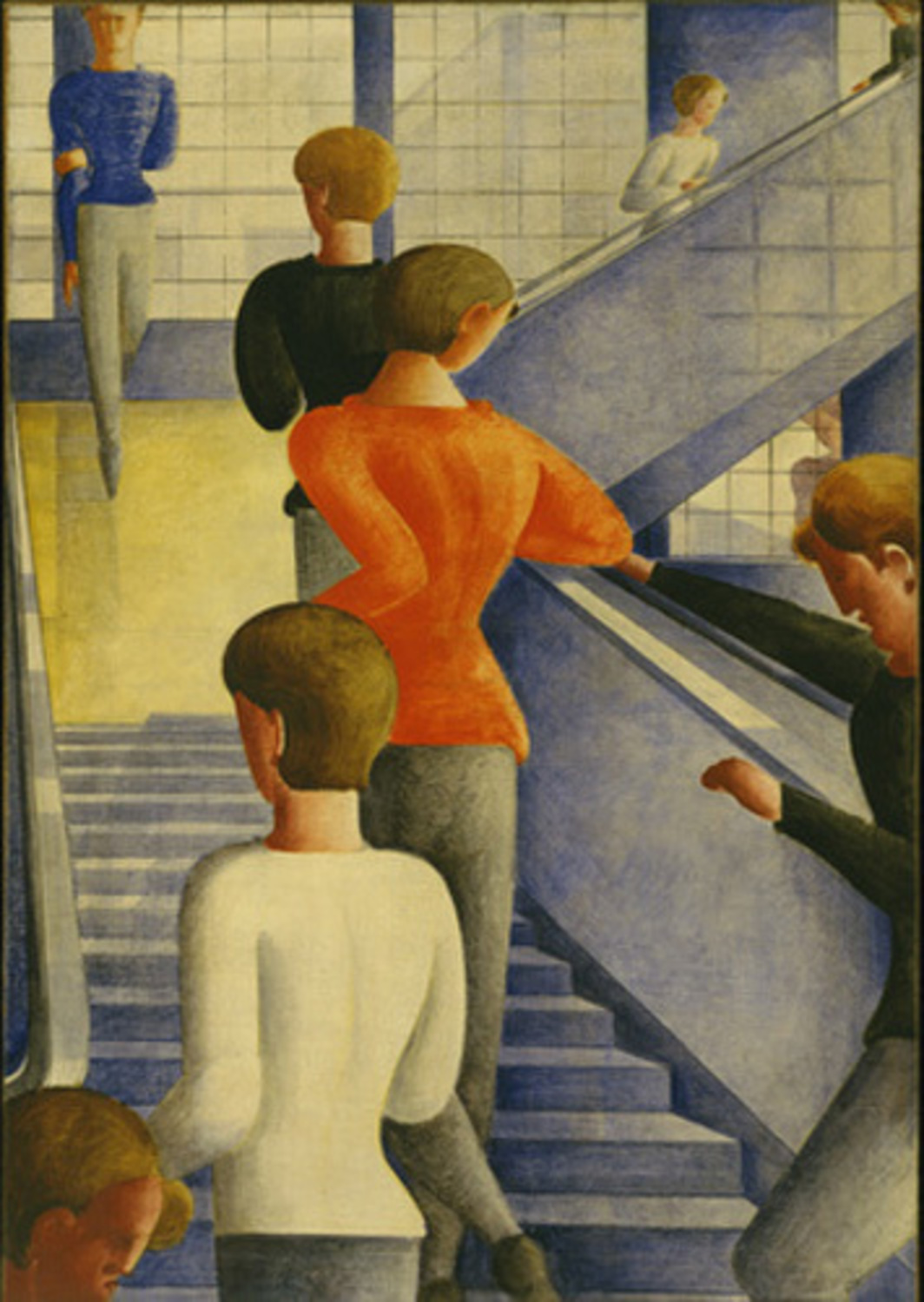 "Oskar Schlemmer, Bauhaus Stairway, 1932, oil on canvas, 63 7/8 x 45""."