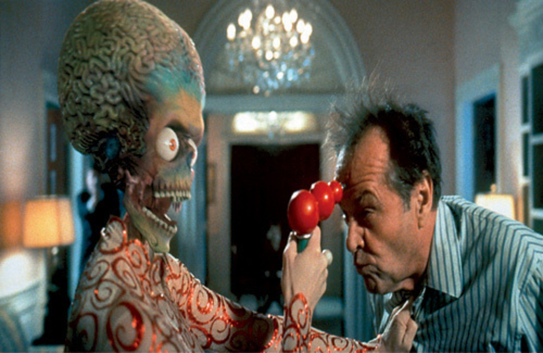 Tim Burton, Mars Attacks!, 1996, still from a color film in 35 mm, 106 minutes. Martian girl (Lisa Marie) and President James Dale (Jack Nicholson).