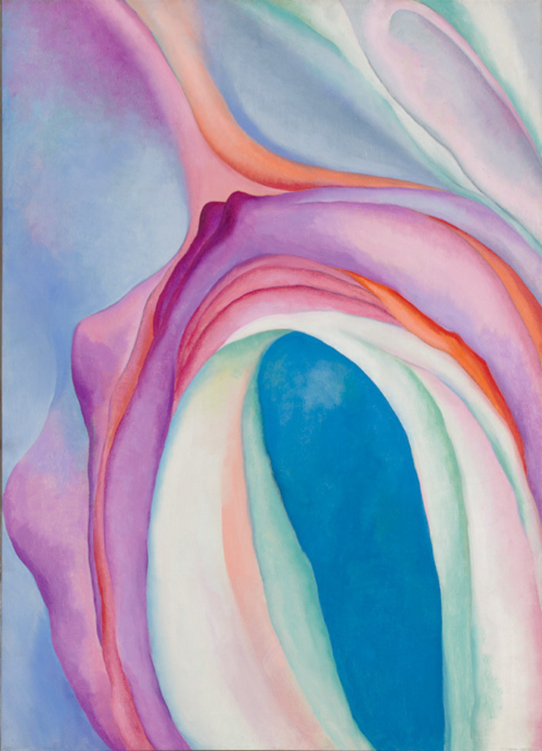 "Georgia O'Keeffe, Music, Pink and Blue No. 2, 1918, oil on canvas, 35 x 29 1/8"". © Georgia O'Keeffe Museum/Artists Rights Society (ARS), New York."