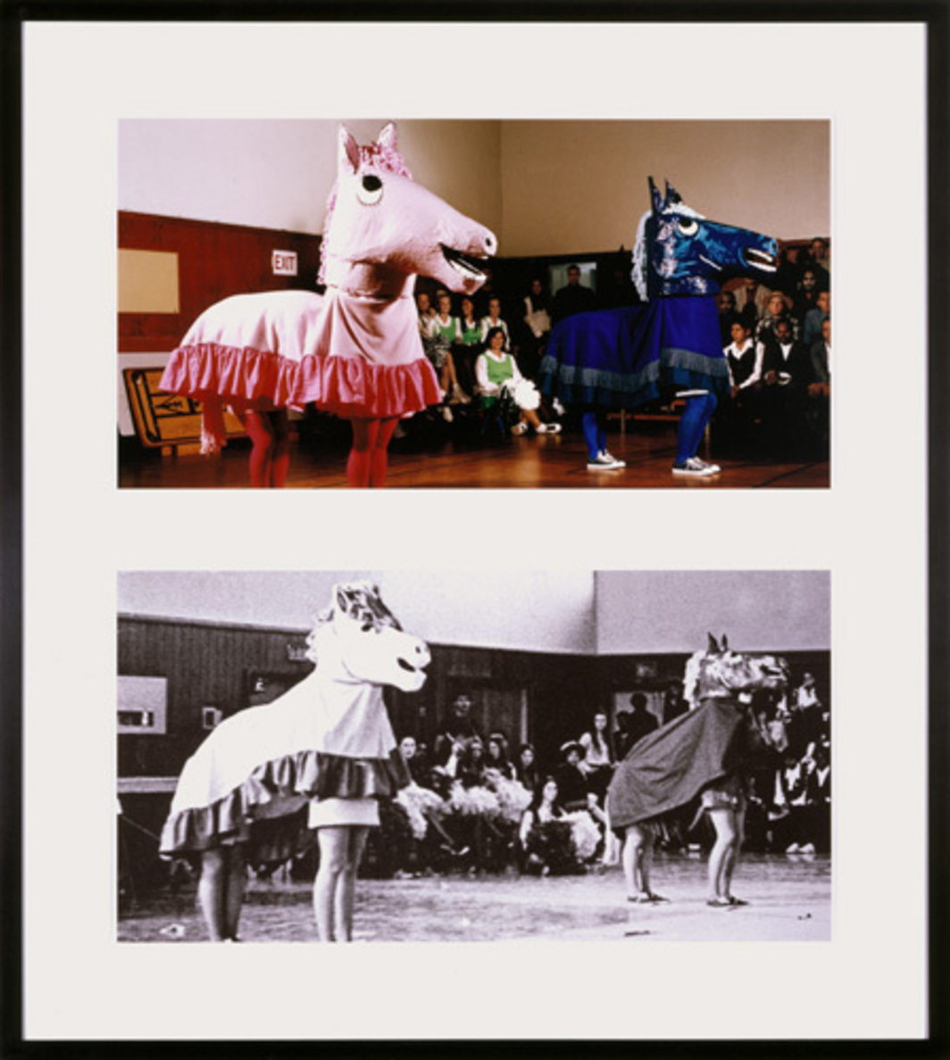 "Mike Kelley, Extracurricular Activity Projective Reconstruction #32 (Horse Dance of the False Virgin), 2005, chromogenic print and black-and-white Piezo print on rag paper, 45 x 40"". Courtesy of the artist and Performa."