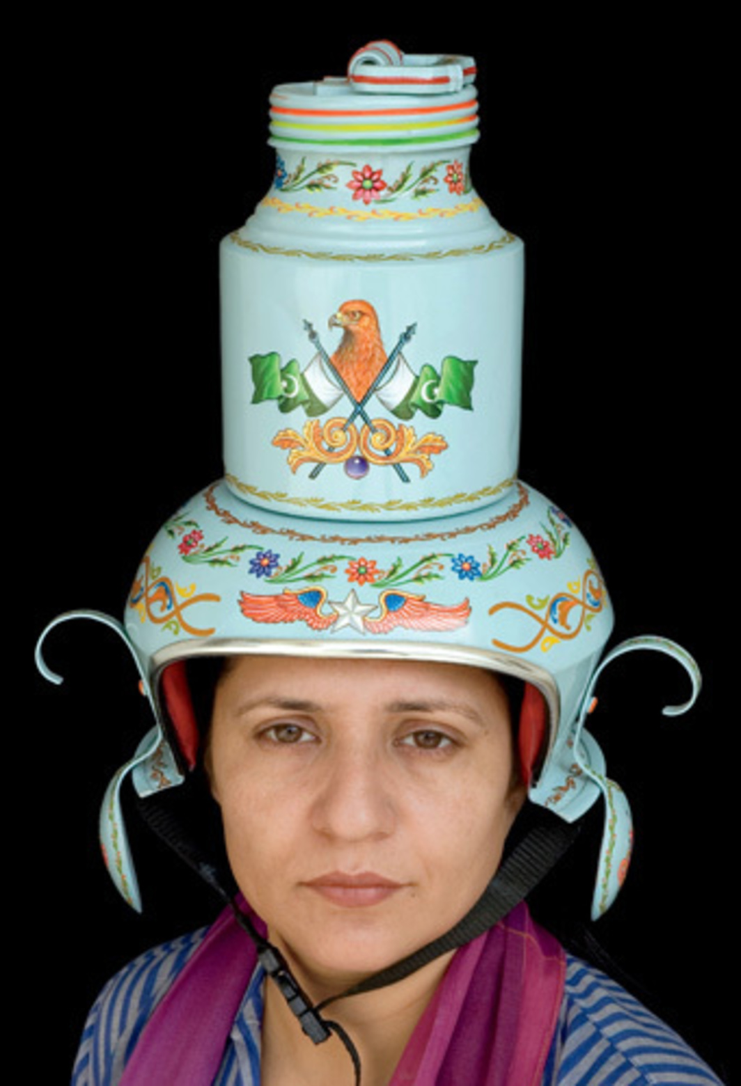"Adeela Suleman, Feroza (Turqouise), 2005, paint on aluminum cooking utensil, spoons, aluminum jar (burni), foam, cloth, 18 x 10 x 10""."