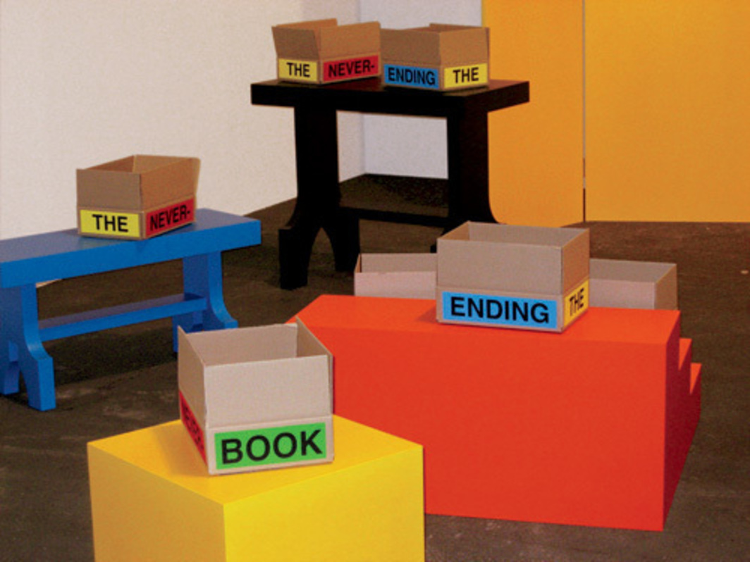Allen Ruppersberg, The Never Ending Book Part 1/The Old Poems, 2007, mixed media. Installation view, Art Unlimited, Basel.