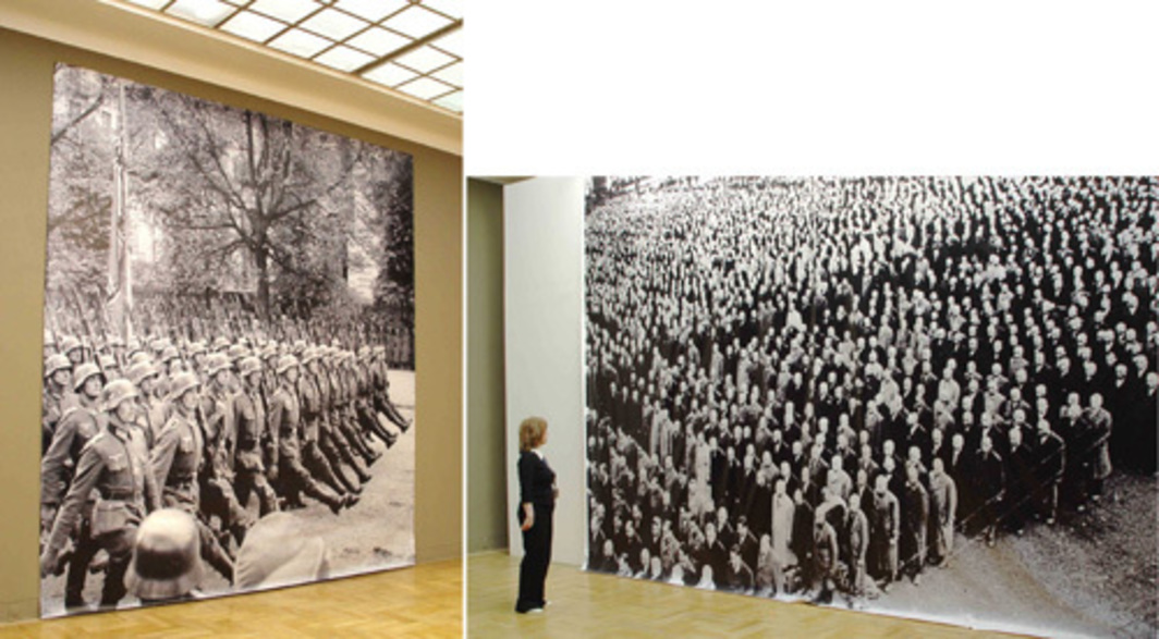 "Gustav Metzger, Historic Photograph Terror and Oppression, 2007, two black-and-white photographs on fabric, 18' 6"" x 14' 7"" and 15' 5"" x 14' 7""."