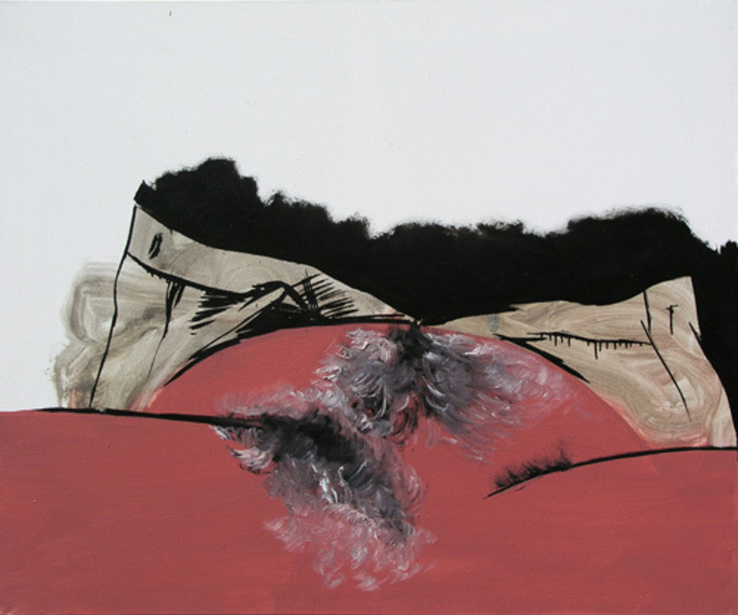 "Wilhelm Sasnal, Mein Bauchnabel (My Belly), 2006, oil on canvas, 39 x 55""."