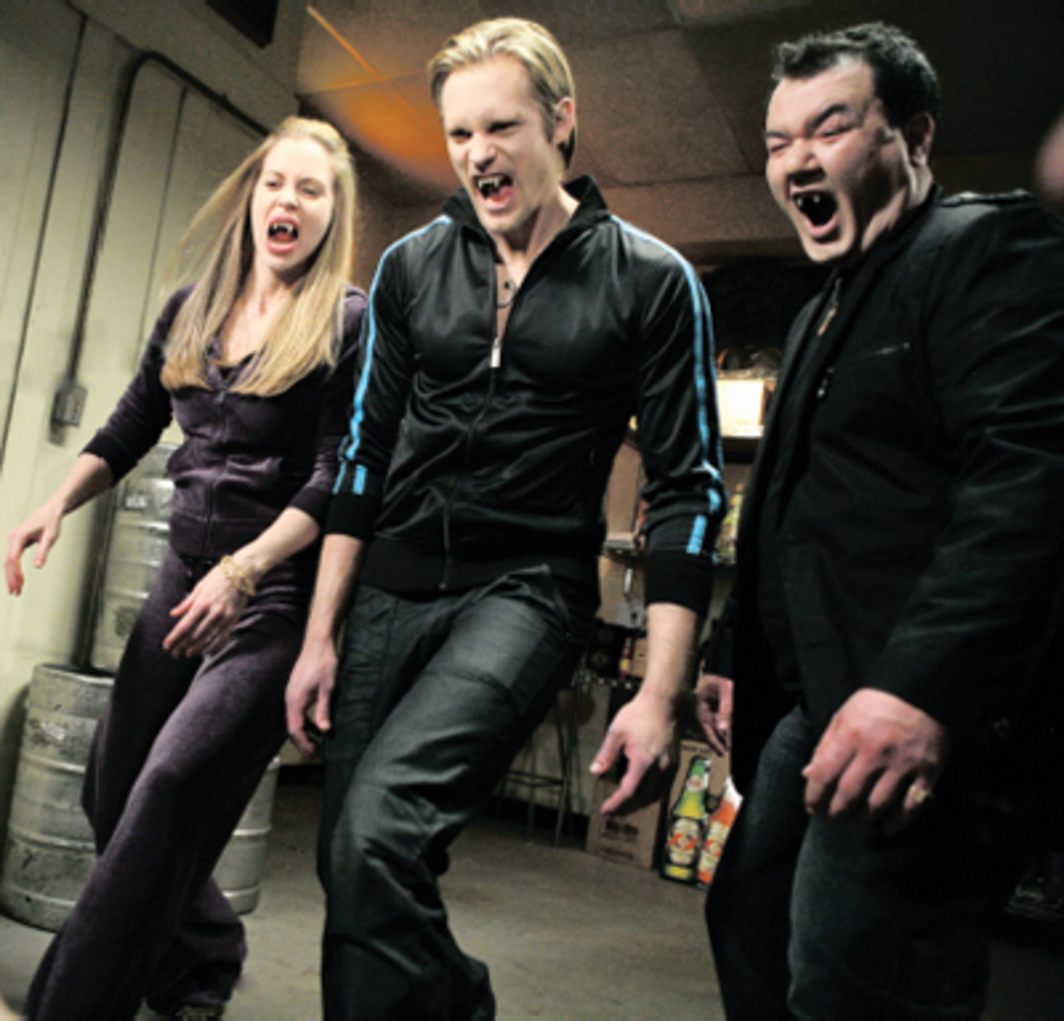 True Blood, 2008–, still from a television show on HBO. From left: Pam (Kristin Bauer), Eric Northman (Alexander Skarsgård), Chow (Patrick Gallagher).