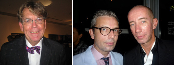 "Left: ""Dalí Dalí Featuring Francesco Vezzoli"" curator John Peter Nilsson. Right: Bureau des Videos cofounder Nicolas Trembley with artist Carsten Höller."