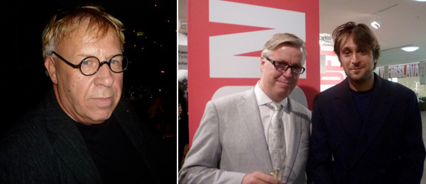 Left: Artist Joseph Kosuth. Right: Moderna Museet director Lars Nittve and Francesco Vezzoli.