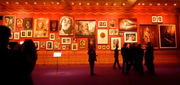 "Left: A view of Vezzoli's wall at ""Dalí Dalí Featuring Francesco Vezzoli."""