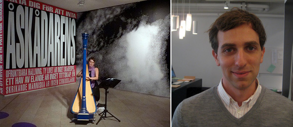 Lef: A harpist in a Barbara Kruger installation. Right: Artist Christodoulos Panayiotou.