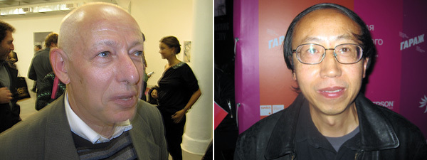 Left: Moscow Biennial cocurator Joseph Backstein. Right: Artist Huang Yong Ping.