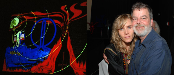 Left: Image of a design from Process. Right: Jodi Wille with Feral House publisher Adam Parfrey.