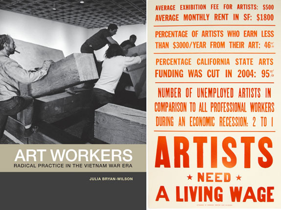"Left: Cover of Julia Bryan-Wilson's Art Workers: Radical Practice in the Vietnam Era (2009). Right: Joseph Del Pesco, et al., State of the Arts, 2008, one of four letterpress posters, 14 x 22"" each. From issue 8 (Fall 2008) of The Present Group."