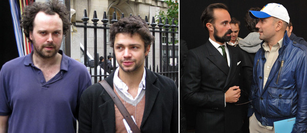Left: Measure's Simon Day and artist Conrad Shawcross. (Photo: Kate Sutton) Right: Collector Evgeny Lebedev and artist Marc Quinn.