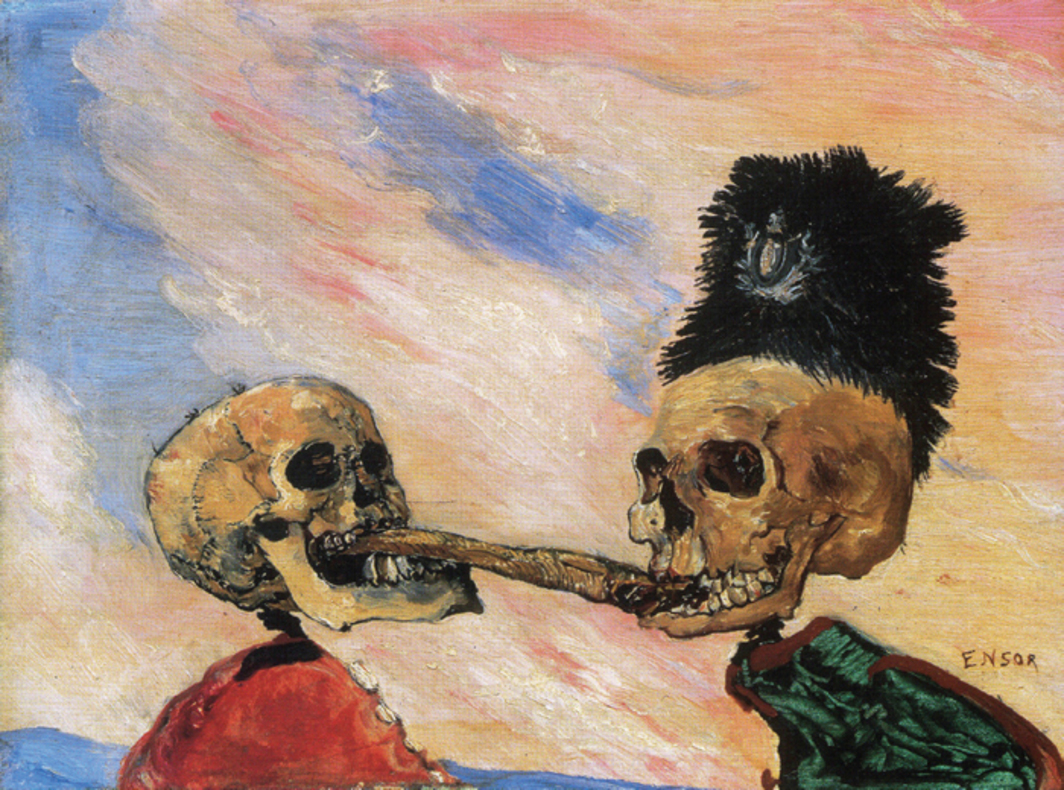 "James Ensor, Skeletons Fighting over a Pickled Herring, 1891, oil on panel, 6 1/2 x 8 1/2""."