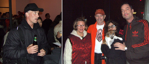 Left: Artist Matthew Barney. Right: Artists Lois Weaver and Charles Atlas with Lori Seid, Squid, and Joe Westmoreland.