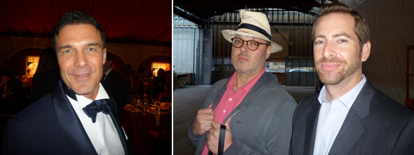 Left: Hotelier Andre Balasz. Right: Photographer Todd Eberle with Gagosian's Dean Anes.