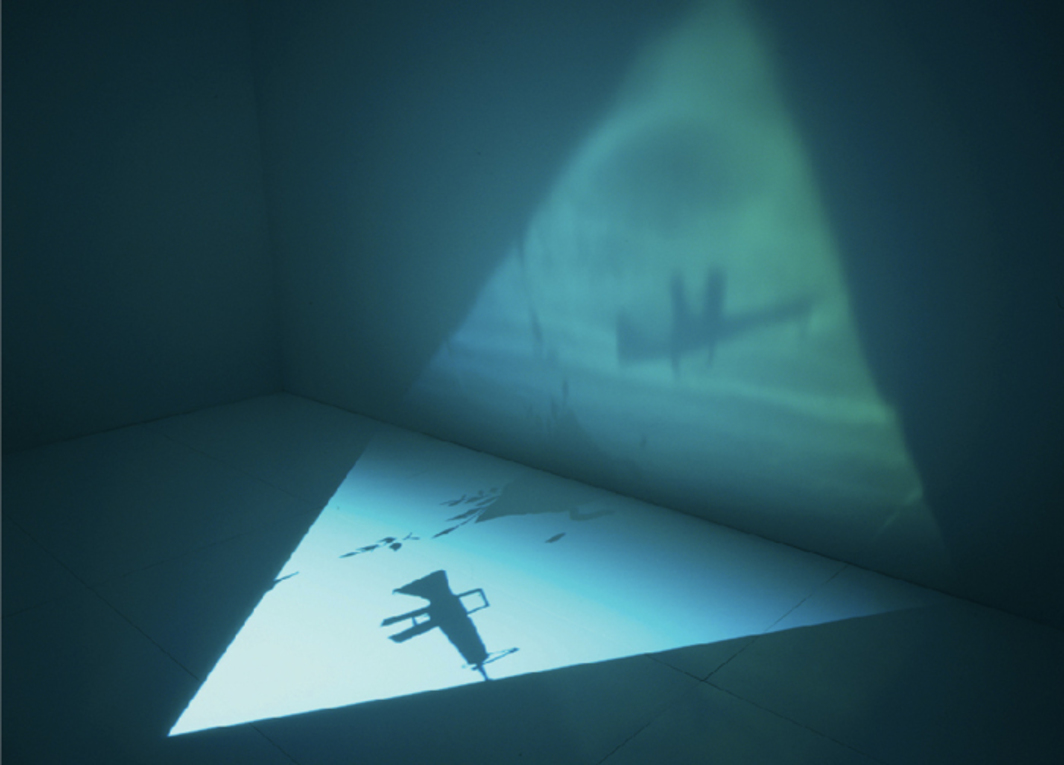 "Paul Chan, The 5th Light, 2007, digital video projection, 14 minutes. Installation view, New Museum, New York, 2008. From the series ""The 7 Lights,"" 2005–2007. Photo: Jean Vong."
