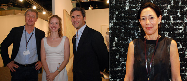 Left: Dealers David Zwirner and Kristine Bell with LACMA director Michael Govan. Right: Dealer Shaun Caley Regen.