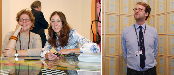 Left: Whitney Museum chief curator Donna De Salvo with dealer Carol Greene. Right: Dealer Martin Klosterfelde.