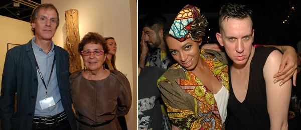 Left: Dealers Andrew Richards and Marian Goodman. Right: Solange Knowles and designer Jeremy Scott.