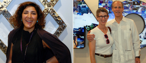 Left: Dealer Sunny Rahbar of the Third Line. Right: Susan Lowry with MoMA director Glenn Lowry.