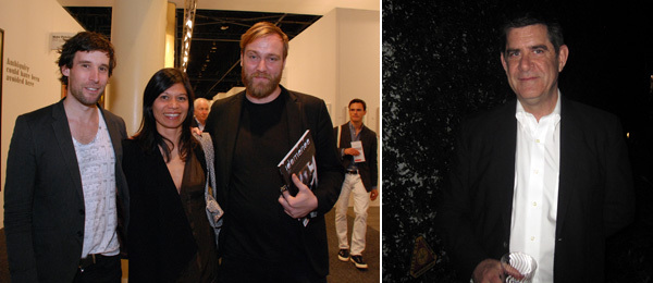 Left: Artists Olaf Breuning, Lilibeth Cuenca Rasmussen, and Jesper Just. Right: Curator Terence Riley.