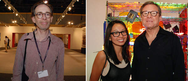 Left: Artist Arto Lindsay. Right: Curator Nu Nguyen and collector Michael Ovitz.