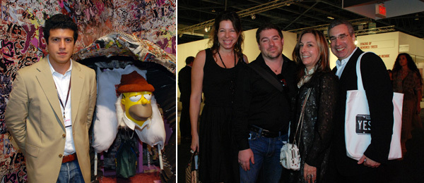 Left: Dealer James Fuentes. Right: Creative Time's Anne Pasternak and Nato Thompson with collectors Shelley and Phillip Aarons