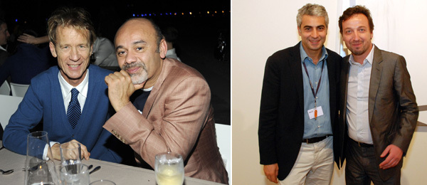 Left: Designer Mattia Bonetti with Christian Louboutin. (Photo: Joe Schildhorn/Patrick McMullan) Right: Dealers Frank Elbaz and Emmanuel Perrotin. (Photo: Ryan McNamara)