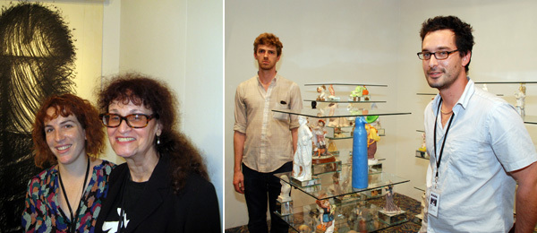 Left: Dealer Mara McCarthy with artist Judith Bernstein. (Photo: Andrew Berardini) Right: Artist Patrick Jackson and François Ghebaly. (Photo: David Velasco)