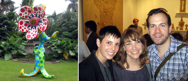 Left: Yayoi Kusama work at Fairchild. (Photo: Francine Koslow Miller) Right: Dealer Jessica Silverman, ICI director Kate Fowle, and collector Joshua Adler. (Photo: Andrew Berardini)