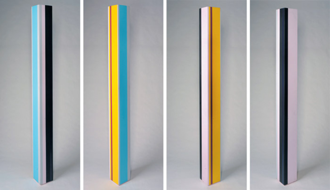 "Anne Truitt, First Requiem, 1977, acrylic on wood, 90 x 8 x 8"". Four views."